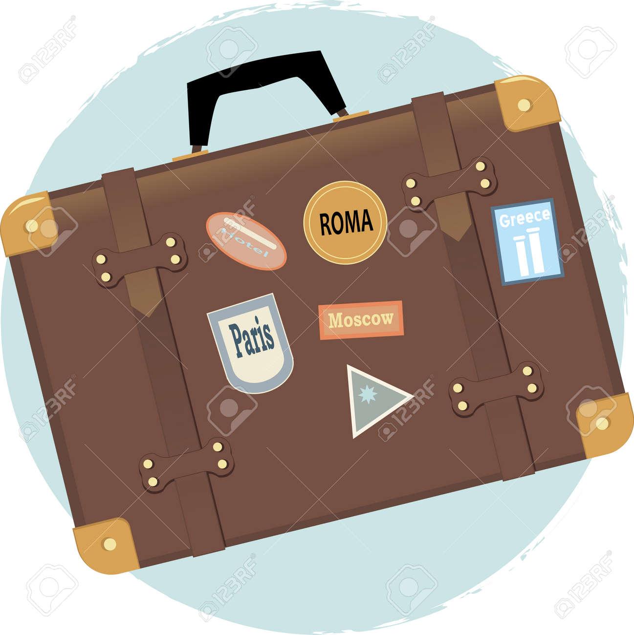 旅行先ラベル ビンテージ スーツケースのベクトル イラスト ロイヤリティ