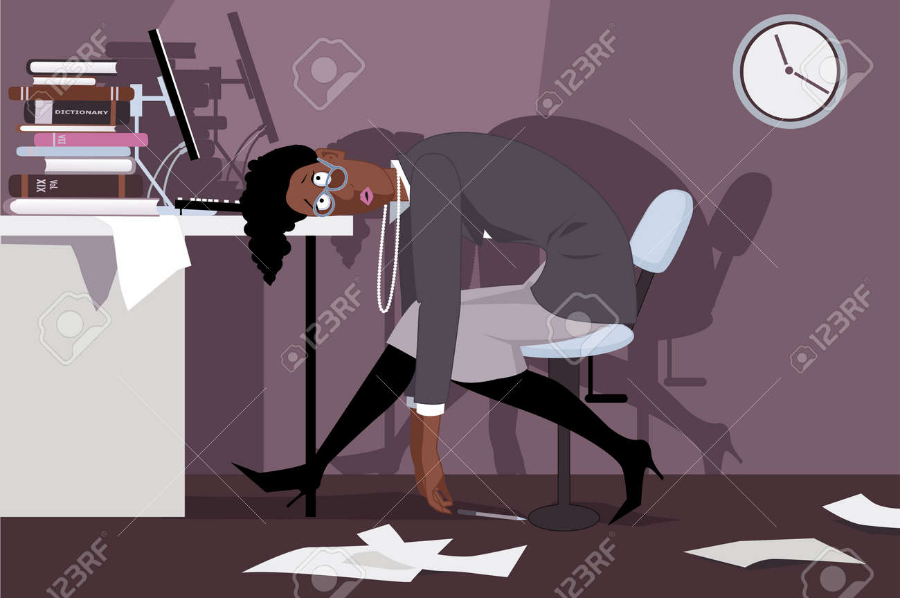 Exhausted black woman sitting in the office late at night, putting her head on a desk, vector illustration, no transparencies, EPS 8 - 42118151