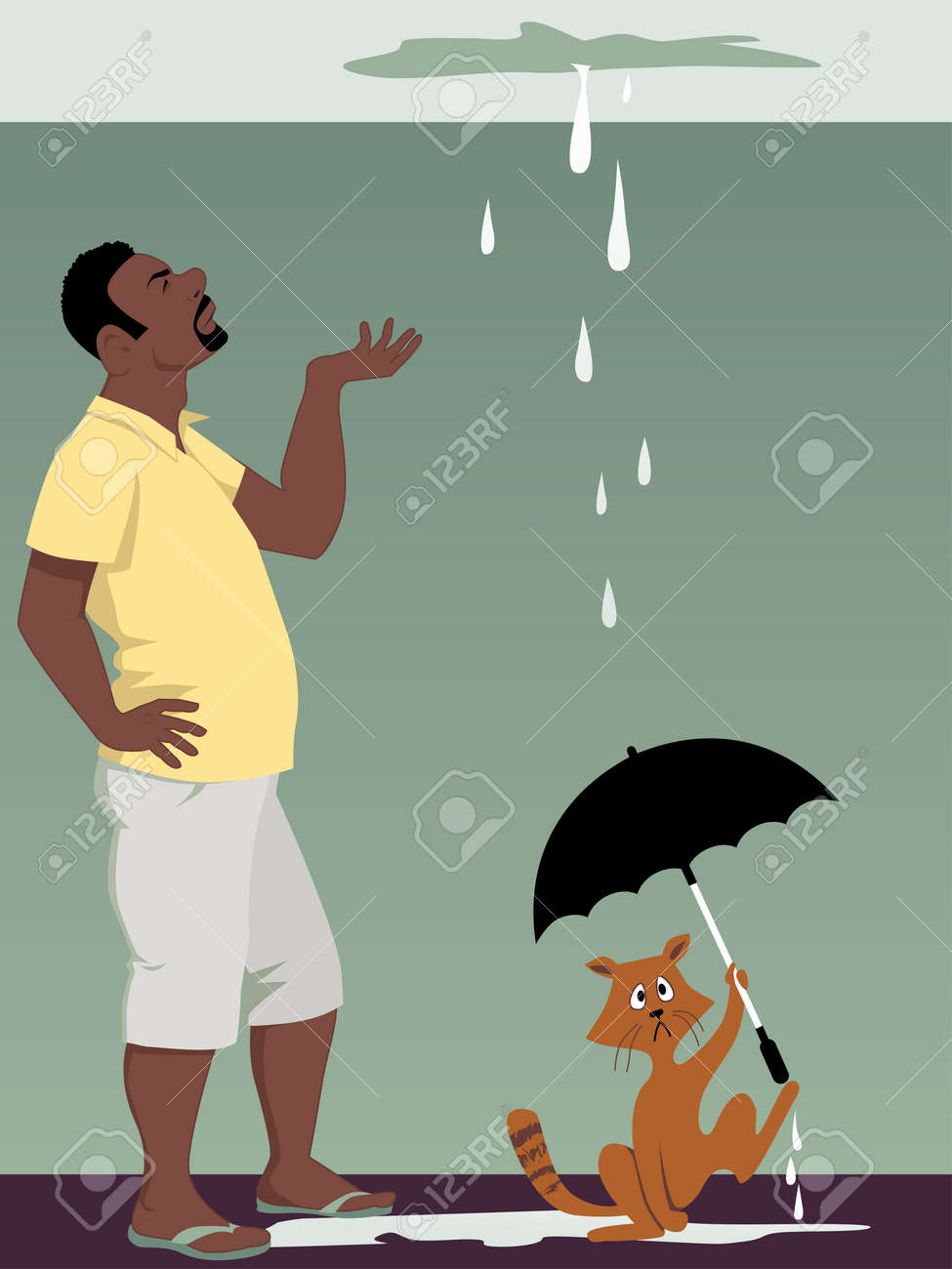 Black man looking at a ceiling leak, a cat holding an umbrella, vector illustration, EPS 8 - 42118159