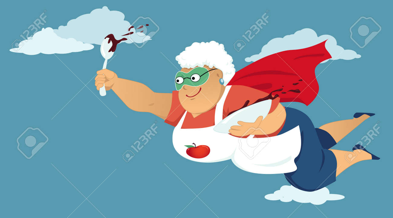 Senior woman in a superhero cape and a mask flying with a bowl of chocolate cake butter or pudding in her hands - 43607734