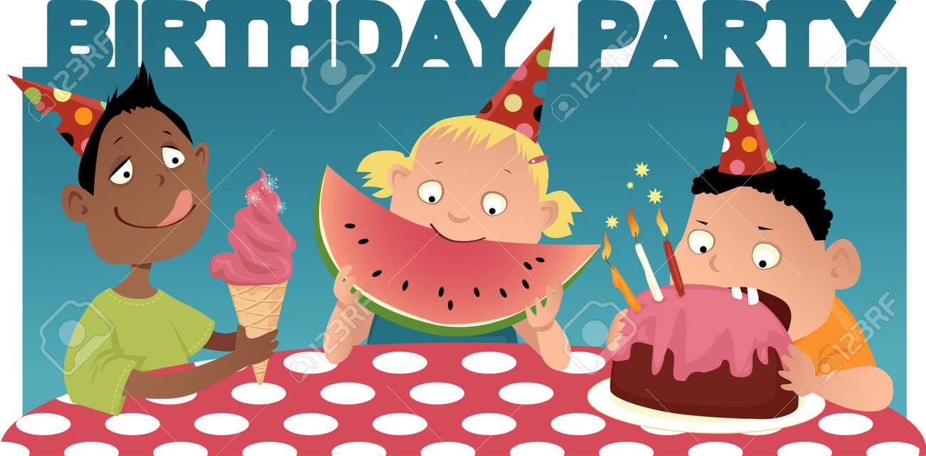 tres nios de dibujos animados en la mesa comer fiesta de cumpleaos de fondo with comida de cumpleaos