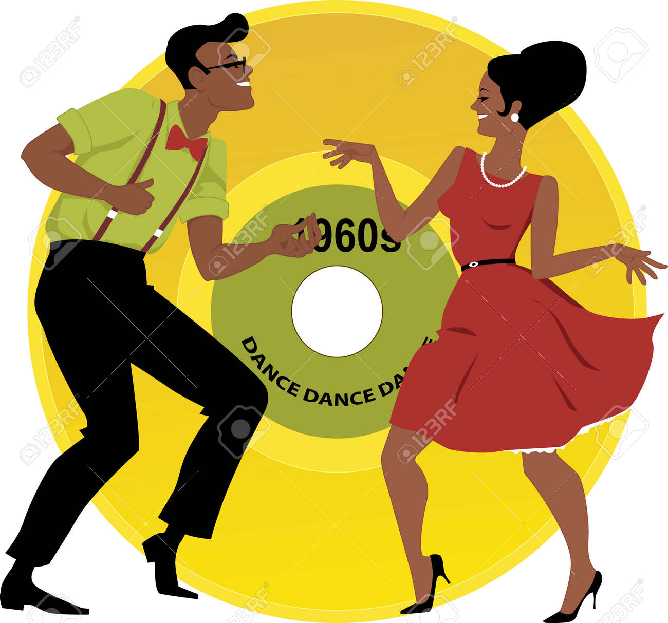 stylish couple dressed in early 1960s fashion dancing the twist rh 123rf com