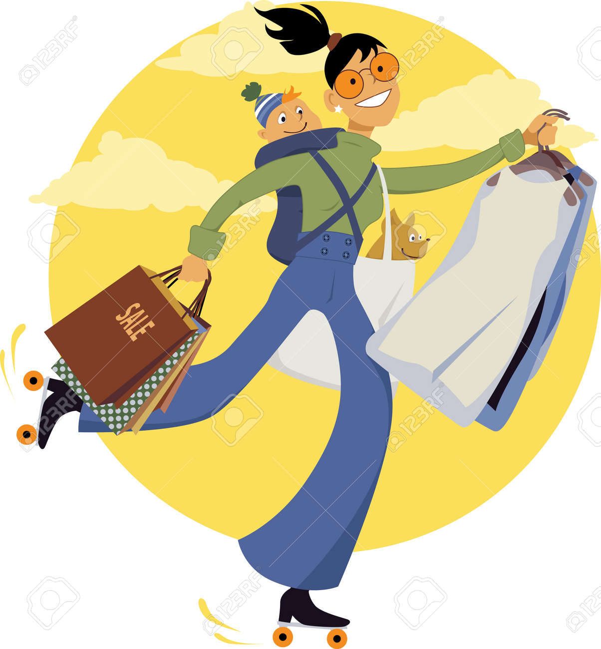 Young woman on roller skates carrying shopping bags, dry-cleaning, a dog and a baby, vector illustration - 44339967