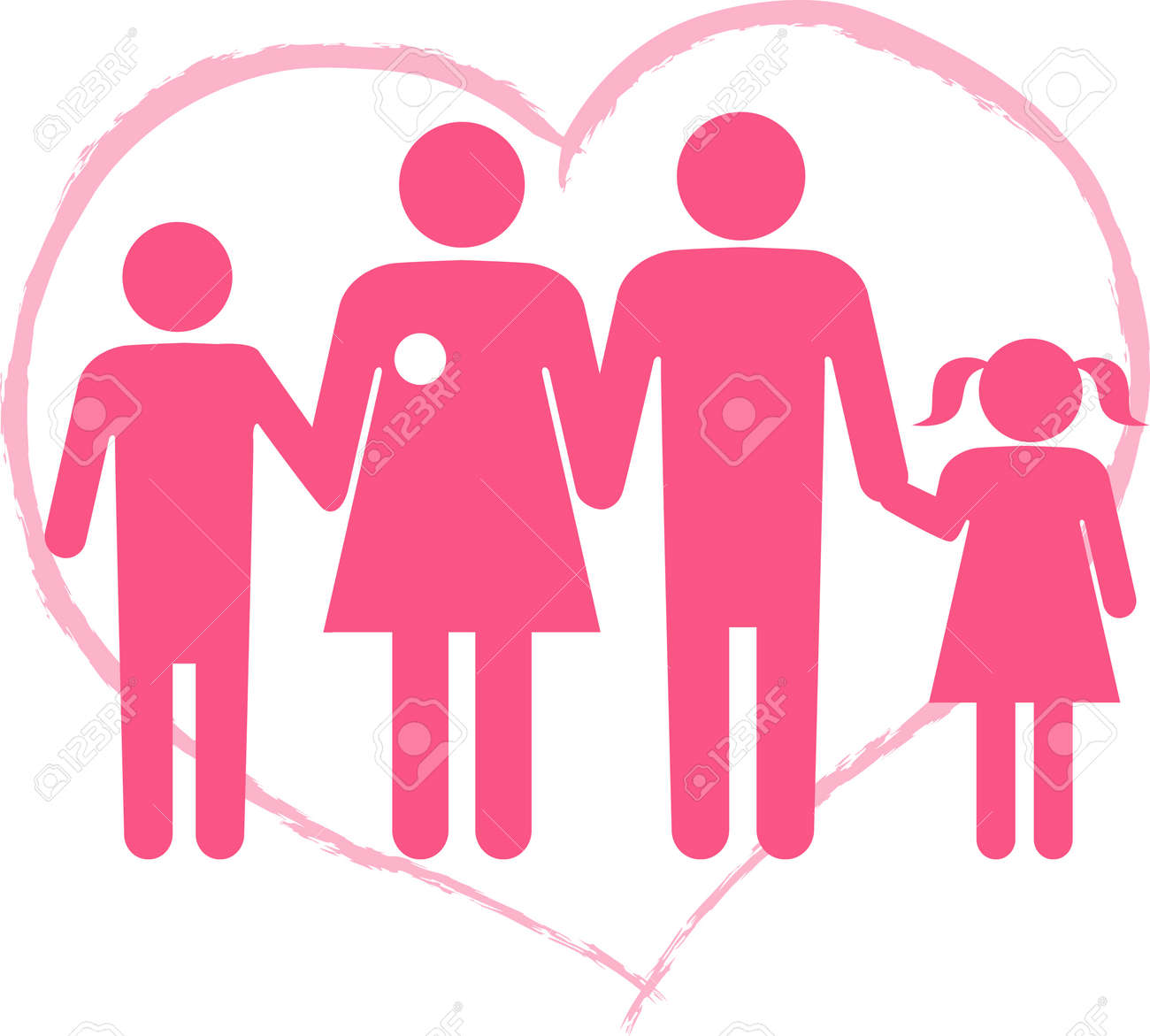Symbol For Breast Cancer Survivor Family Heart Shape On The