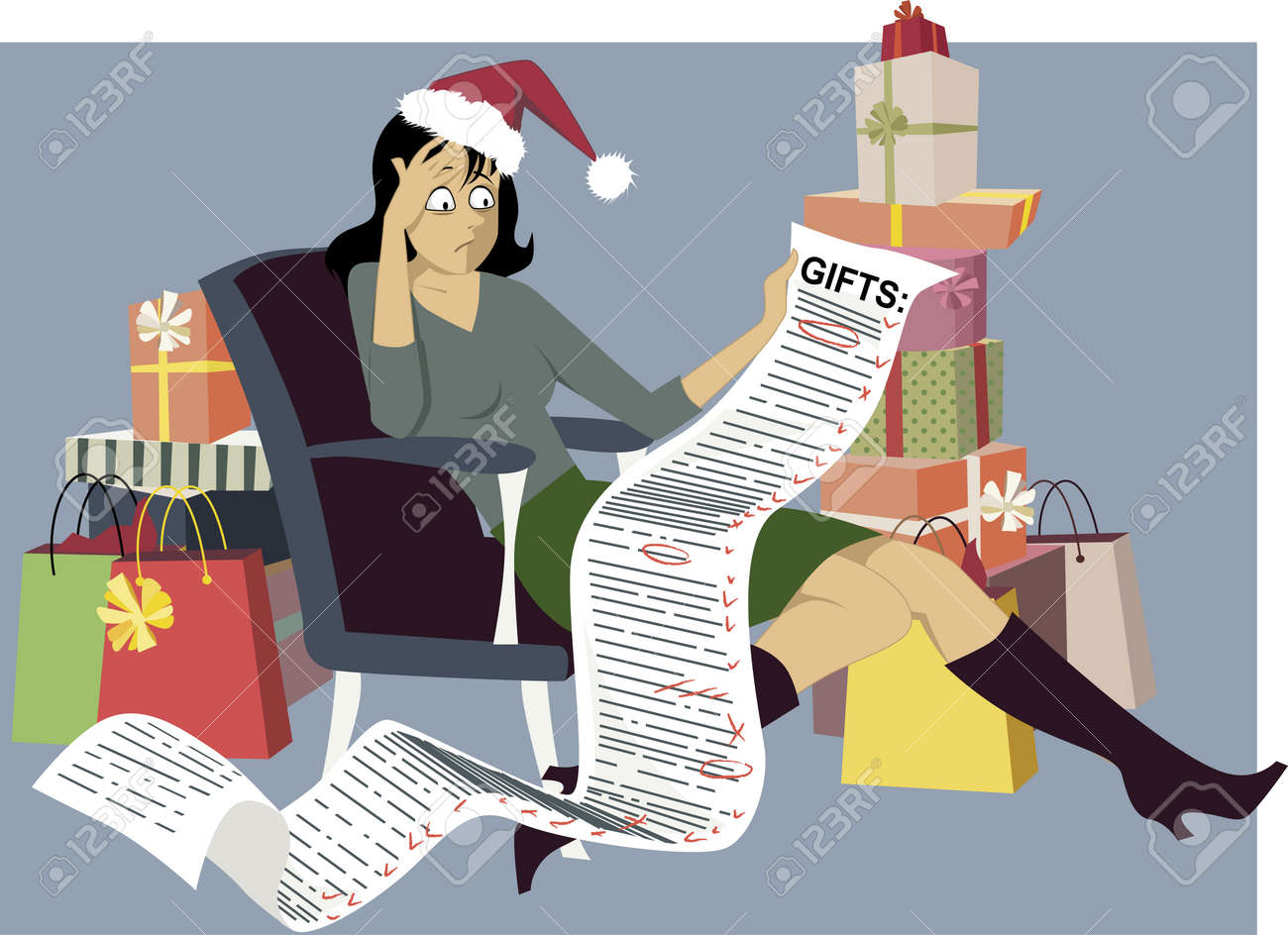 Exhausted woman in a Santa hat sitting with a long shopping list of gifts, surrounded by bags and gift boxes, vector illustration - 45020353
