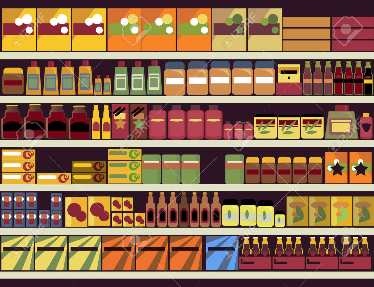 Grocery store shelves filled with canned and boxed goods royalty grocery store shelves filled with canned and boxed goods stock vector 45048965 buycottarizona Gallery