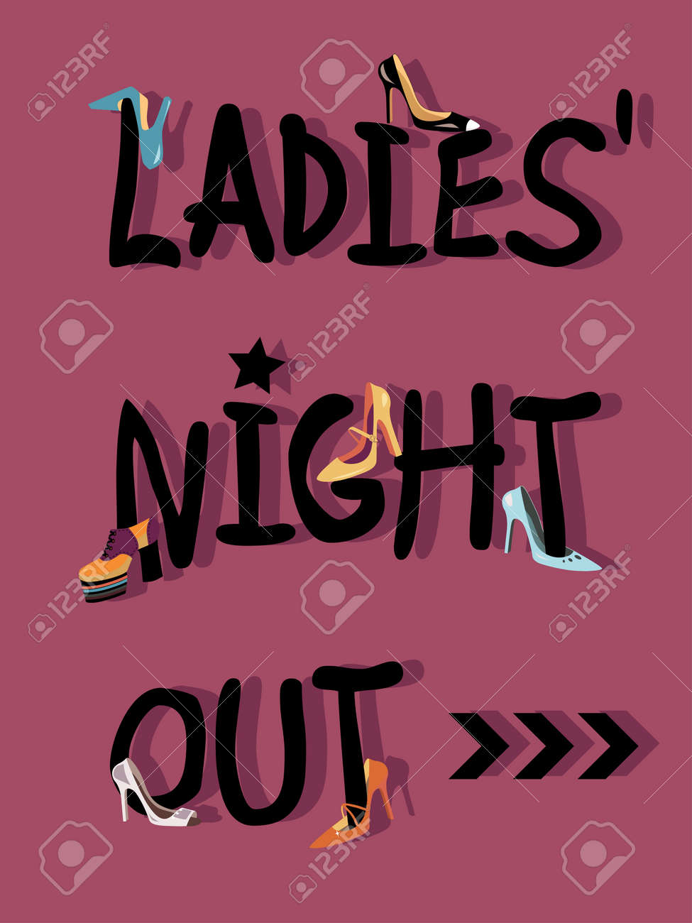 Ladies Night Out Invitations Card Design With Shoes Royalty Free