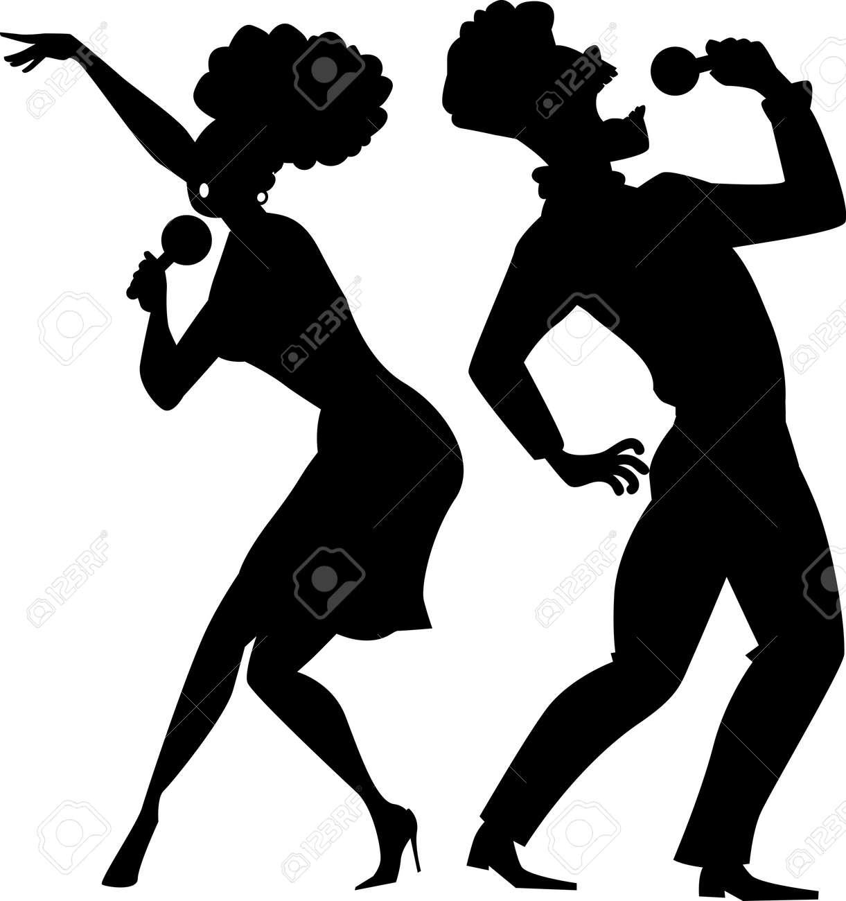 black vector silhouette of a cartoon couple singing royalty free rh 123rf com silhouette vector art free human silhouette vectors