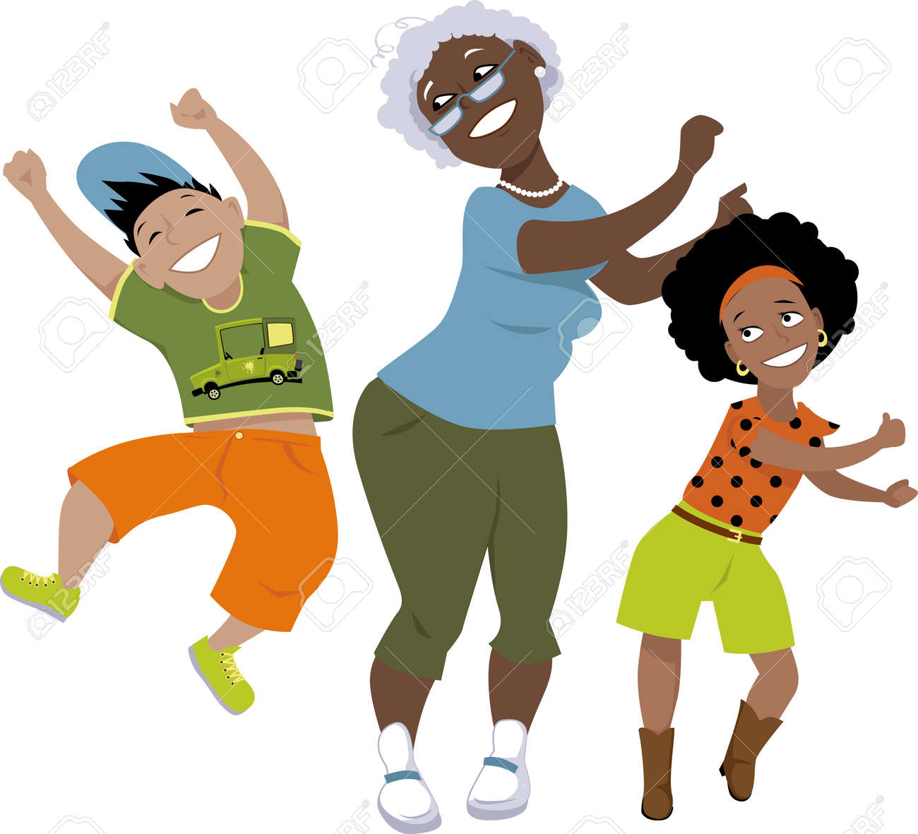 Senior Black Woman Dancing With A Little Boy And A Girl Eps Royalty Free Cliparts Vectors And Stock Illustration Image 49354499