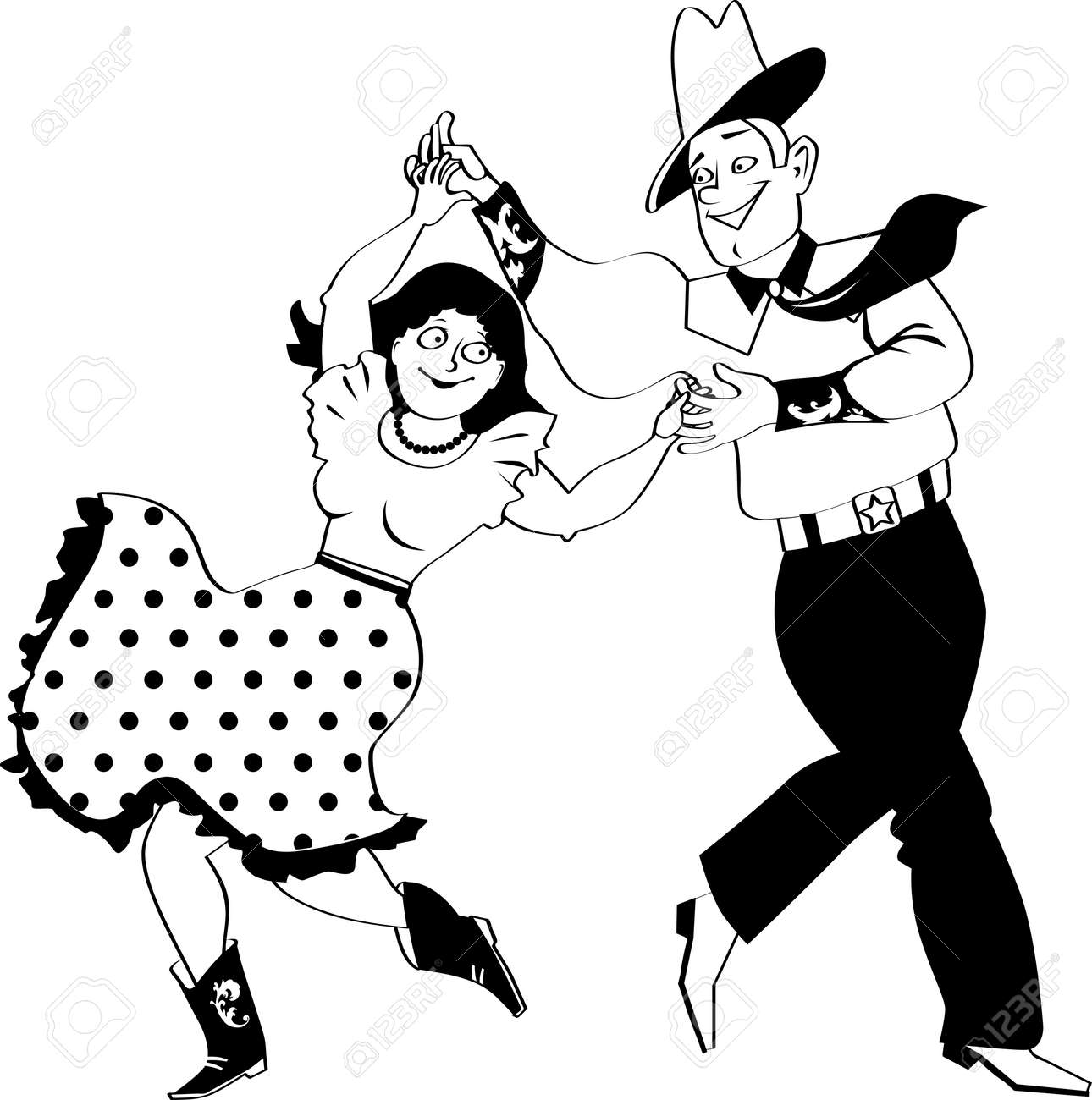 A Couple Dressed In Traditional Western Costumes Dancing Square ...
