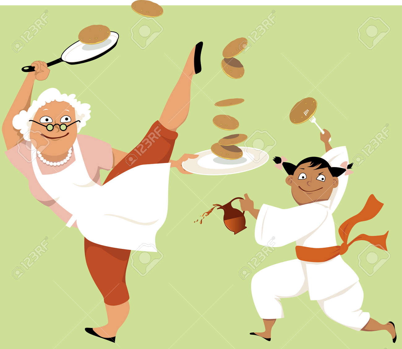 Image result for stylish grandmother in a cookery show cartoon