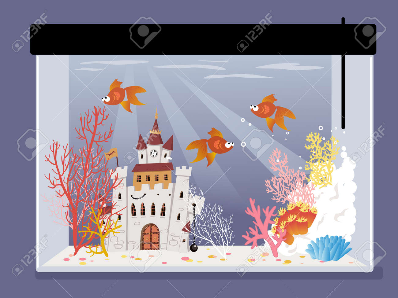 Cartoon Fish Tank With A Castle Corals And Goldfish Vector