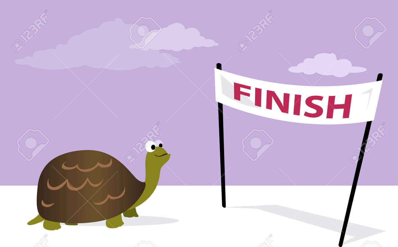 Slow, but sure. Cartoon tortoise at the finish line, vector illustration, no transparencies - 51267494