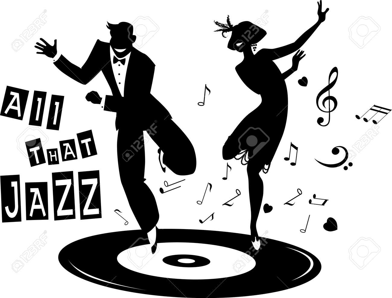 Black vector silhouette of a couple dressed in 1920s fashion dancing the Charleston on a record, no white objects - 51267497