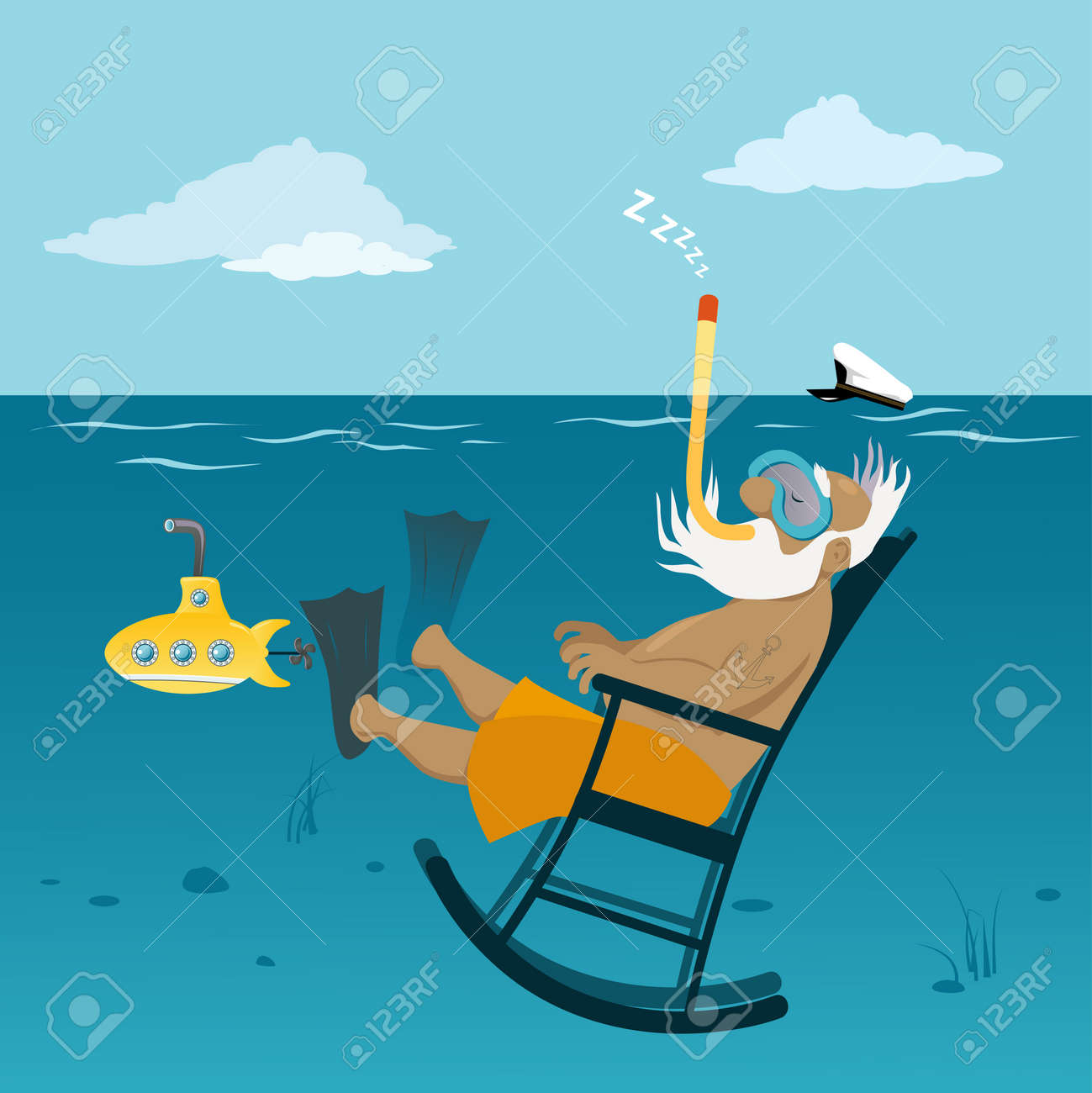 Retired Old Sea Captain Relaxing In A Rocking Chair Underwater, Breathing  Through A Snorkel Stock