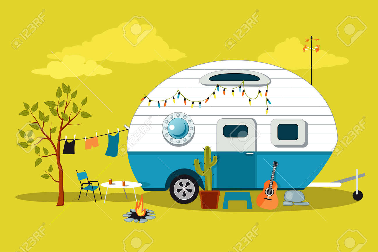Camping Tafel Retro.Cartoon Reizen Scene Met Een Vintage Camper Een Vuurplaats Camping Tafel En Waslijn