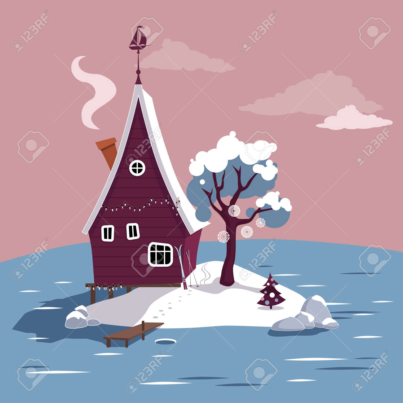 winter scene with a cartoon house on a small island in the middle