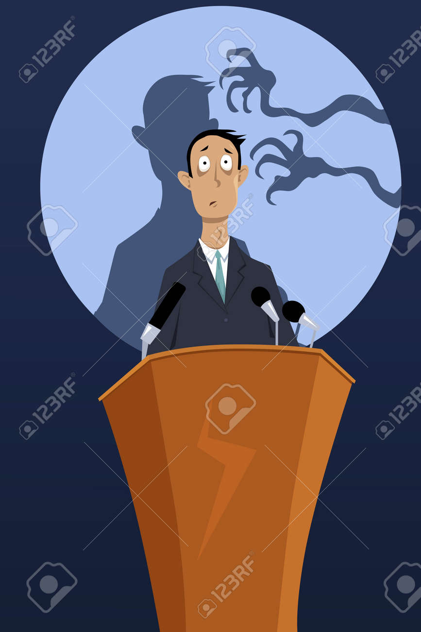 Creepy hands reaching the shadow of a man, standing on a podium, as a metaphor for a fear of public speaking, EPS 8 vector illustration, no transparencies - 56914028