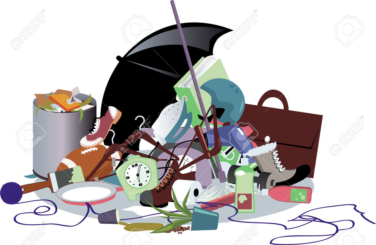 Pile of household trash, EPS 8 vector illustration, no transparencies - 60070203