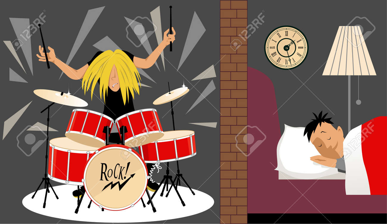 Man sleeping quietly in an adjusting room to a musician playing a drum set, illustration of soundproofing, EPS 8 - 60070209