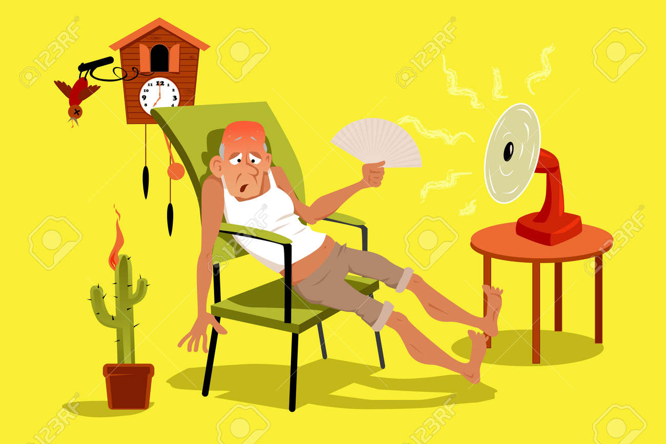 Mature man sitting in his house in a very hot summer day with a fan, EPS 8 vector illustration, no transparencies - 61306283