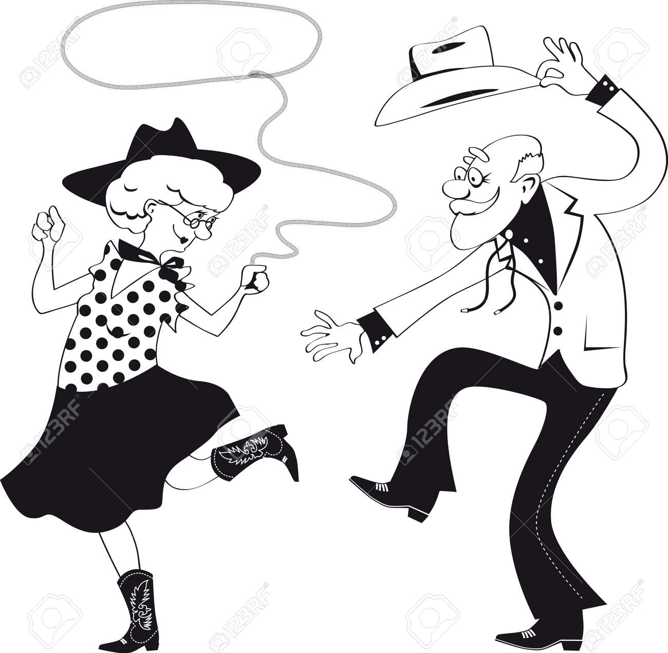 Vector line art of a senior couple dressed in traditional western costumes dancing square dance or contradance - 63512567