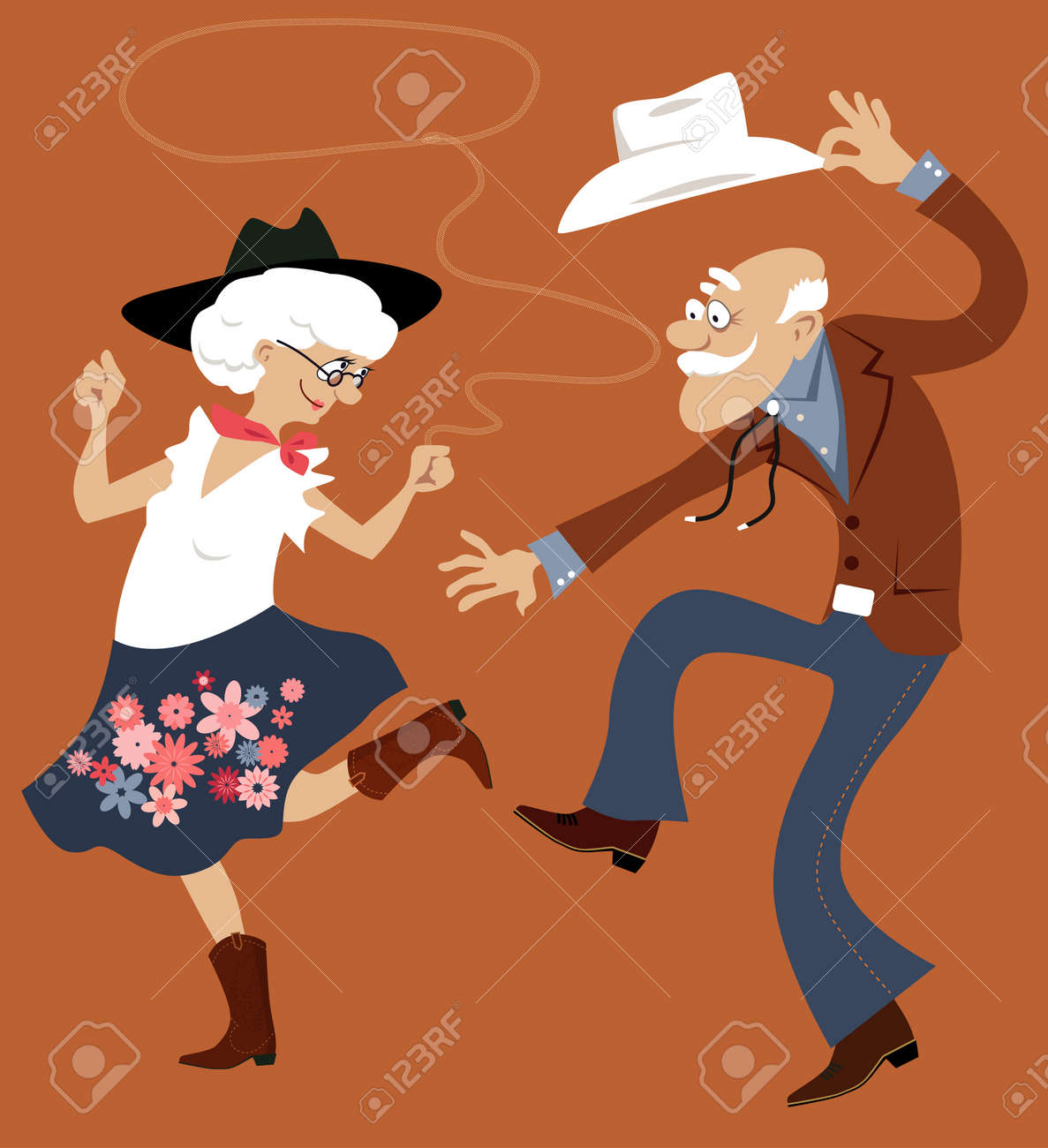 Senior couple dressed in traditional western costumes dancing square dance or contradance, EPS 8 vector illustration, no transparencies - 63512568