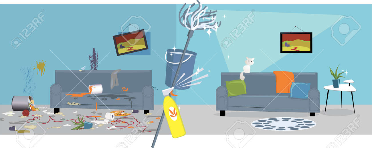 Living Room Before And After Cleaning Stock Vector
