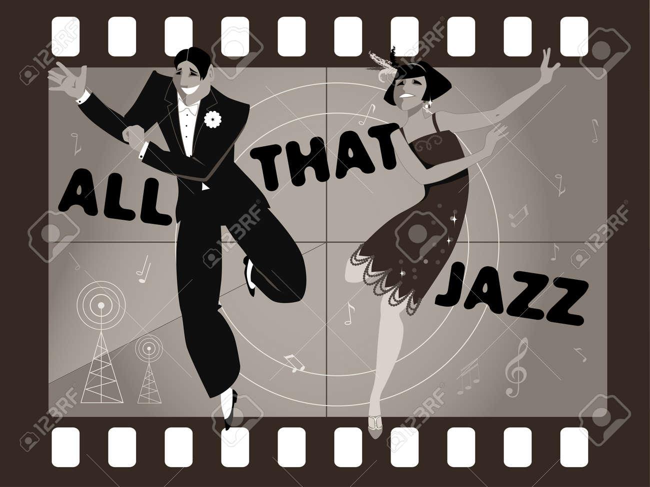 Joven Pareja Vestido De La Moda De 1920 Baile De La Charleston En Un ...