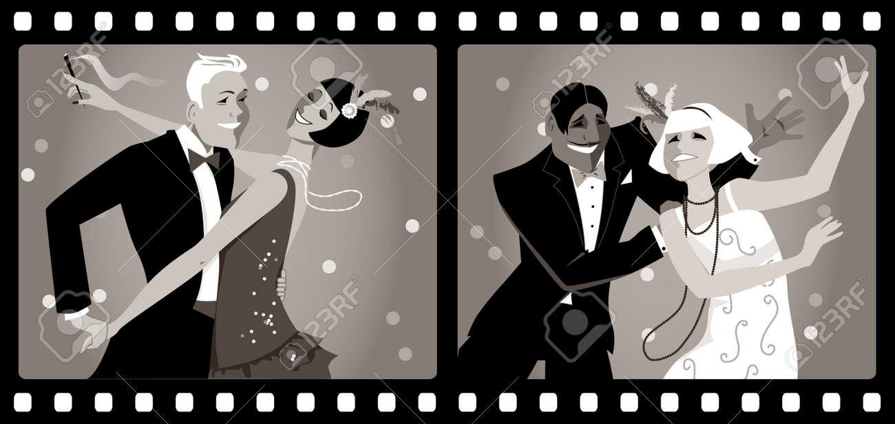 Retratos De Dos Parejas Vestidos De Baile 1920 De La Moda En Un ...
