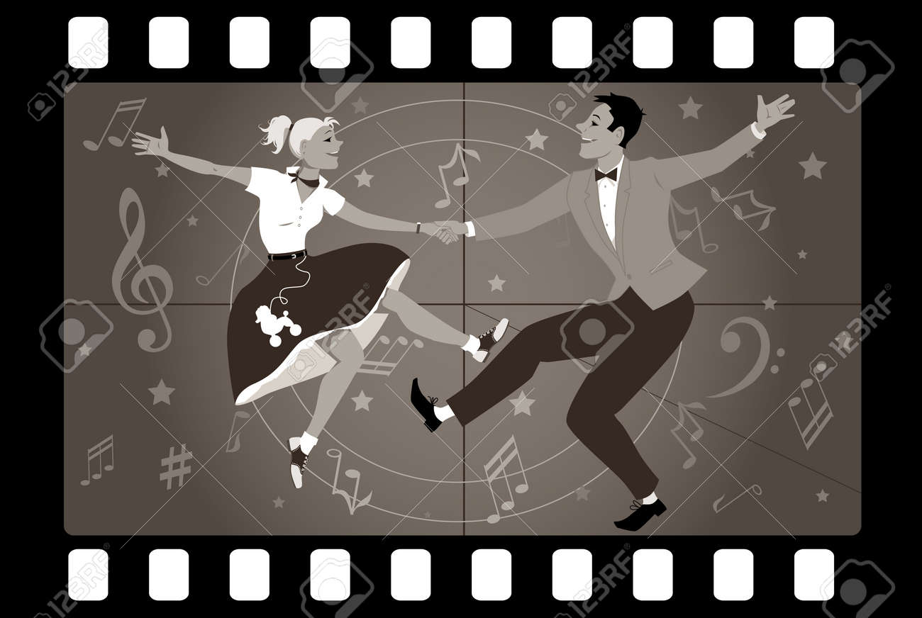Couple dancing 1950s style rock and roll in an old movie frame - 63590939