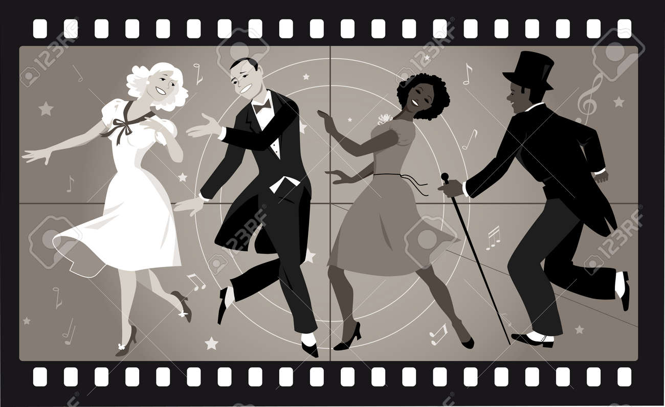 People in retro stile costumes dancing in an old movie frame - 63590940