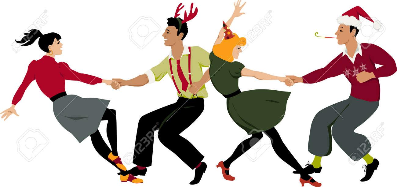 d5a74a8028696 Banque d images - Deux couples en vacances vêtements et chapeaux de fête  danse lindy hop ou swing formation, illustration vectorielle
