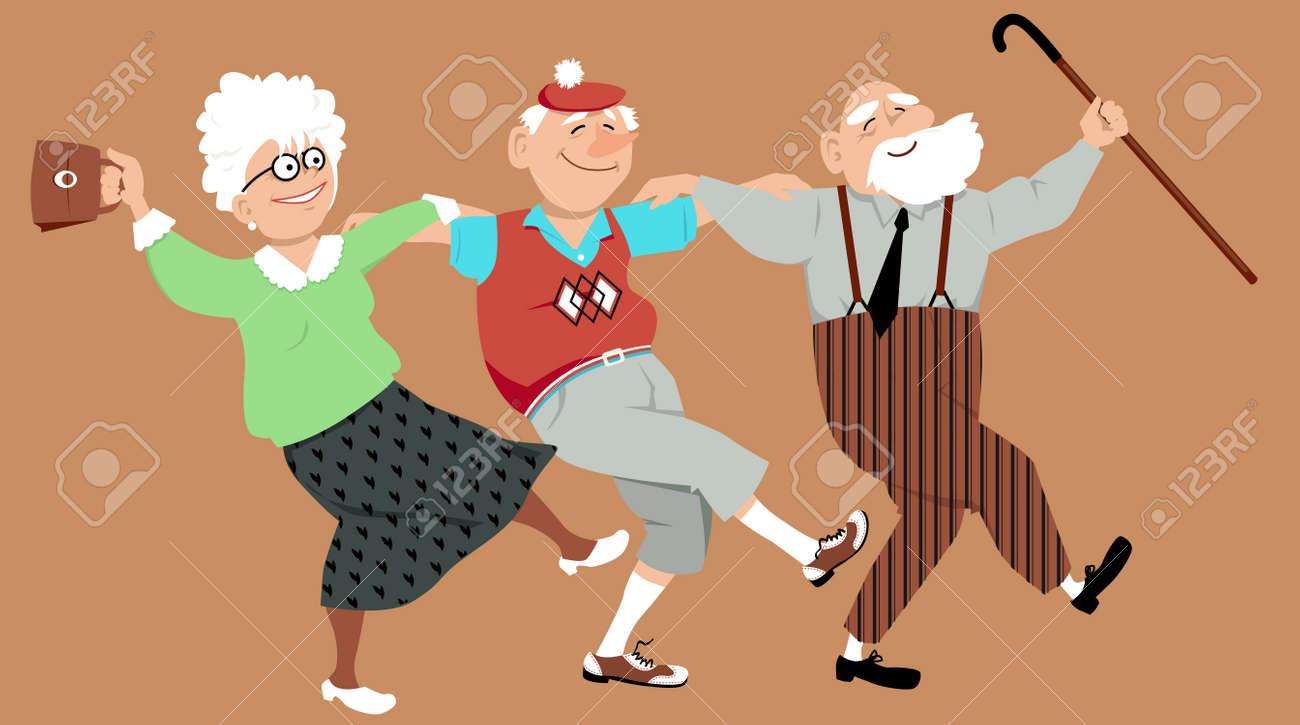 Three happy seniors dancing sirtaki or Zorba dance, vector illustration, no transparencies - 64369728
