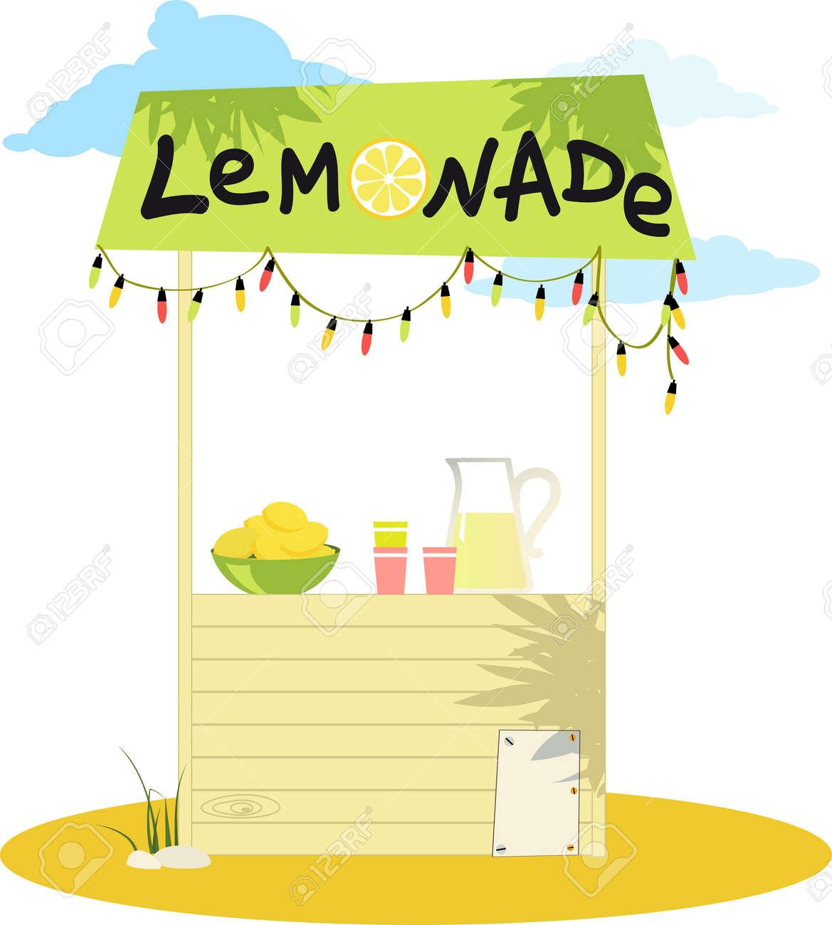 Cartoon lemonade stand with fresh lemons and a pitcher - 67300157