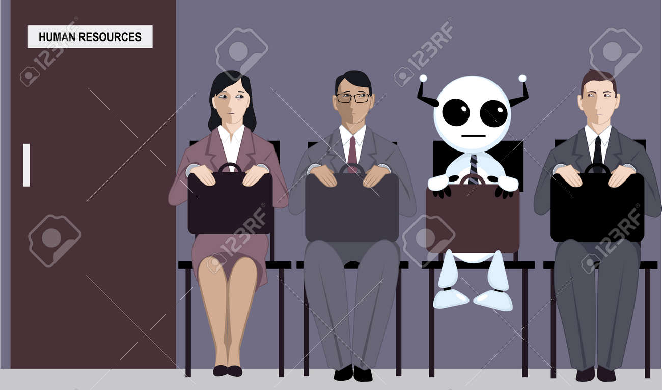 Cartoon robot sitting in line with applicants for a job in front of a human resources office - 67320713