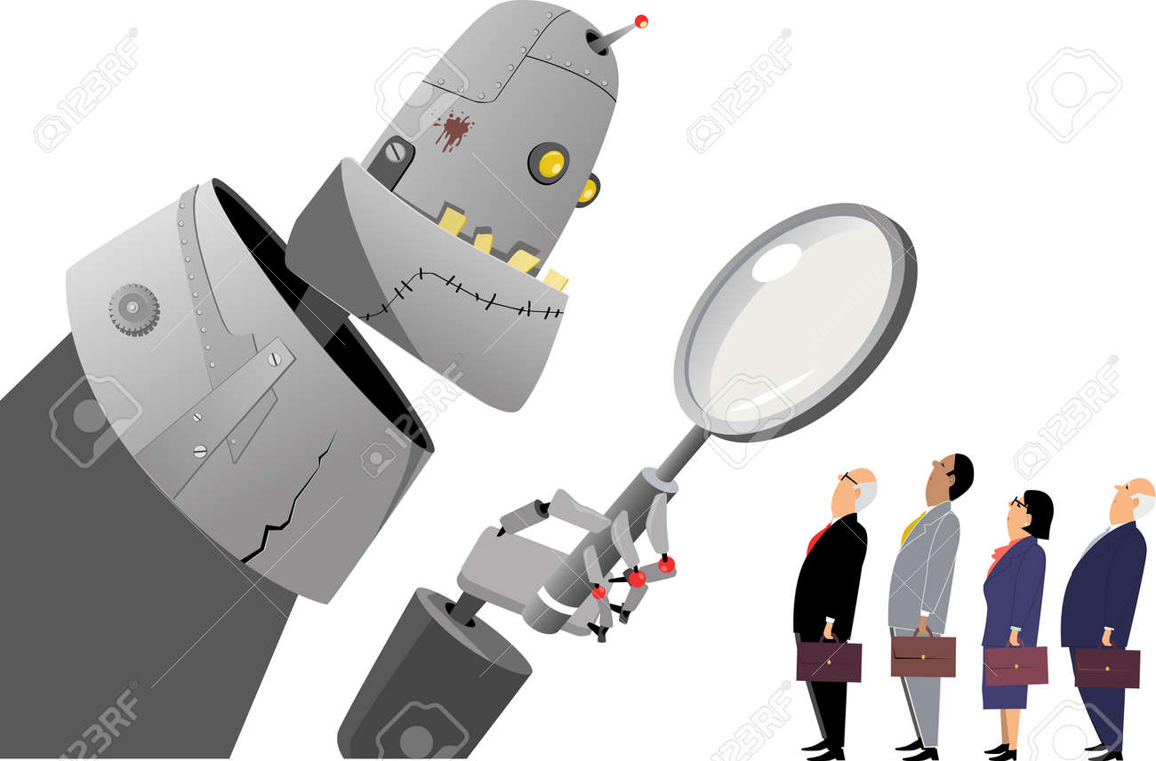 Giant robot manager examining human employees under a magnifying glass, EPS 8 vector illustration - 69113335
