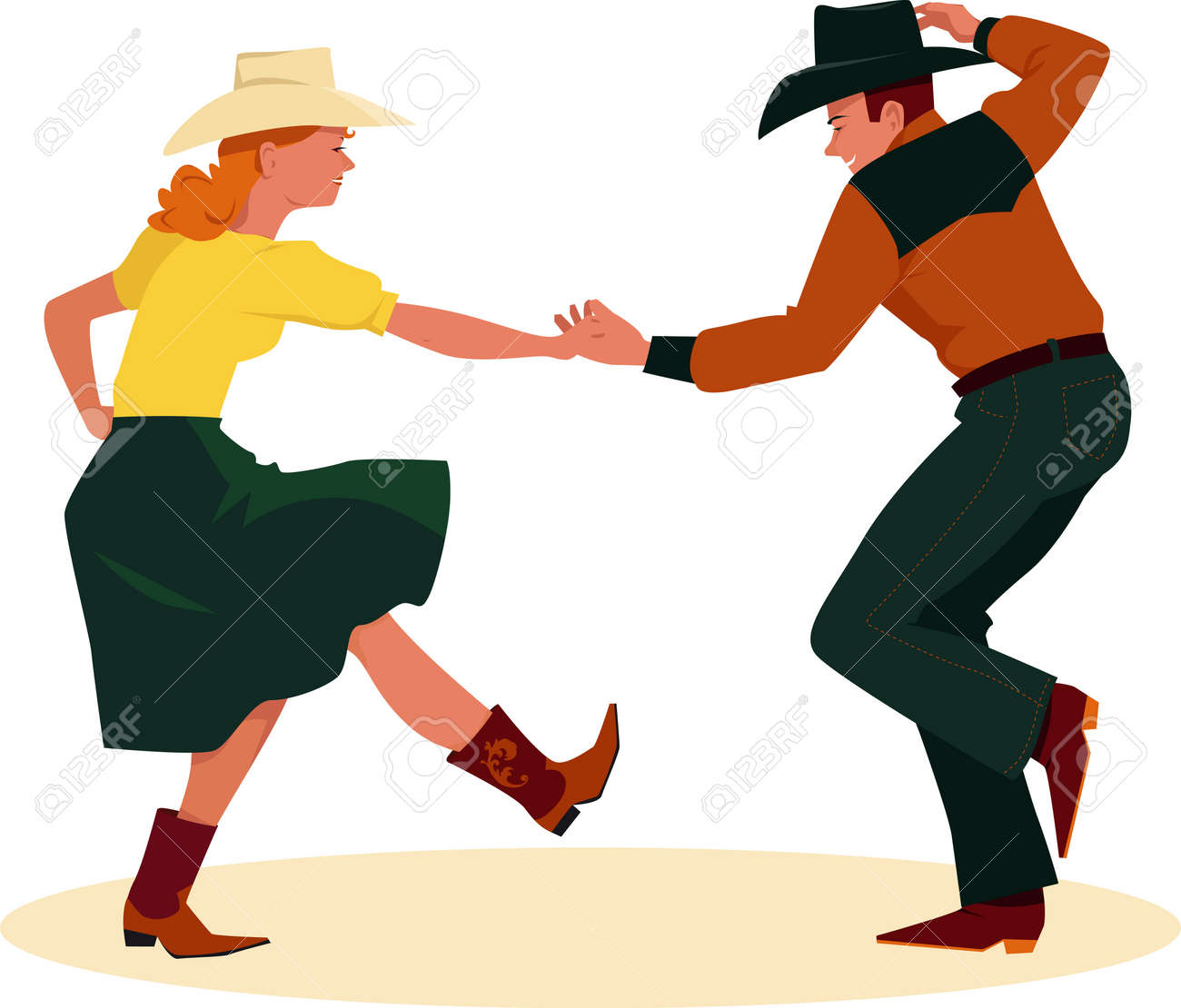 Image Danse Country couple danse country western, vue arrière, eps, 8 illustration
