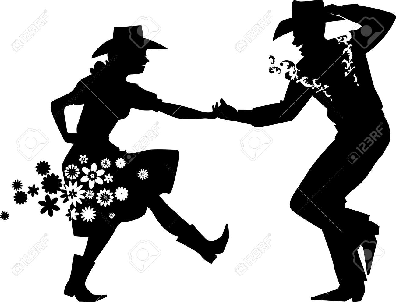 Couple Dancing Country Western, EPS 8 Vector Silhouette Illustration ...