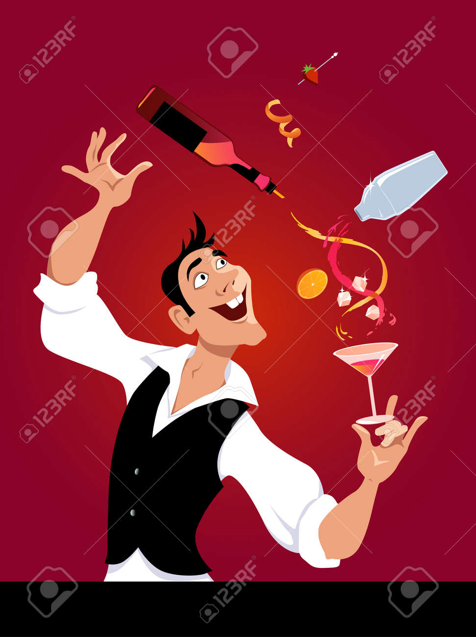 Mixologist demonstrates flair bartending making a cocktail, EPS 8 vector illustration, no transparencies - 72709696