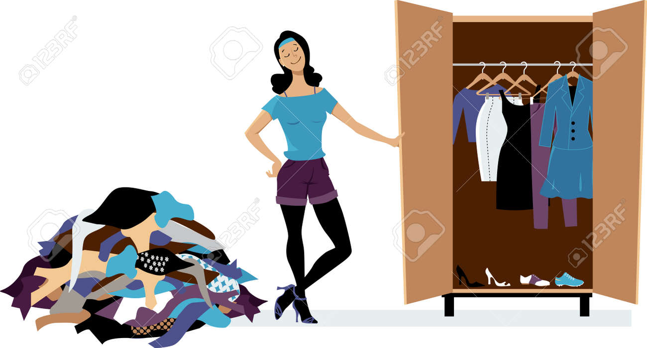 Woman creating a minimalist wardrobe, purging unnecessary clothes, EPS 8 vector illustration - 73280988