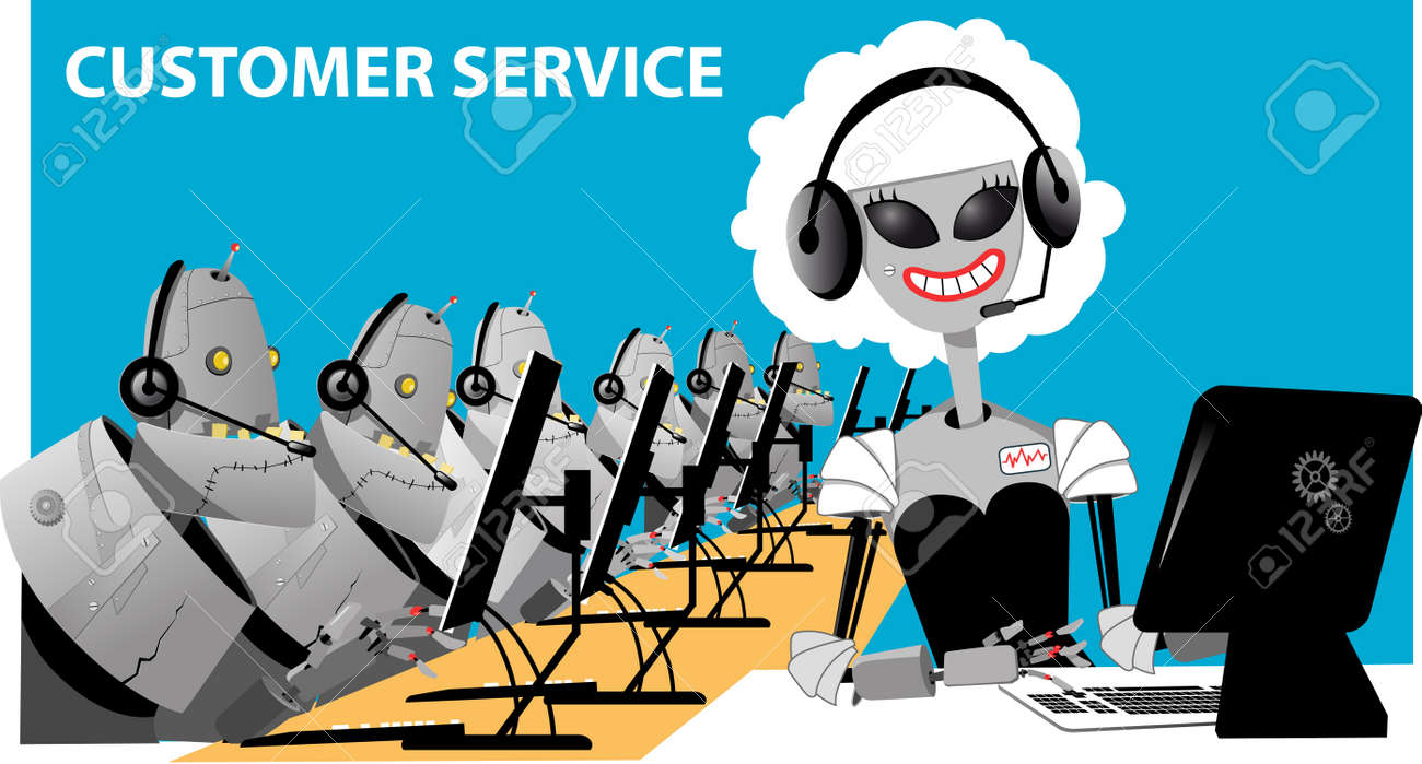 Robots working in an automated call center, EPS 8 vector illustration,