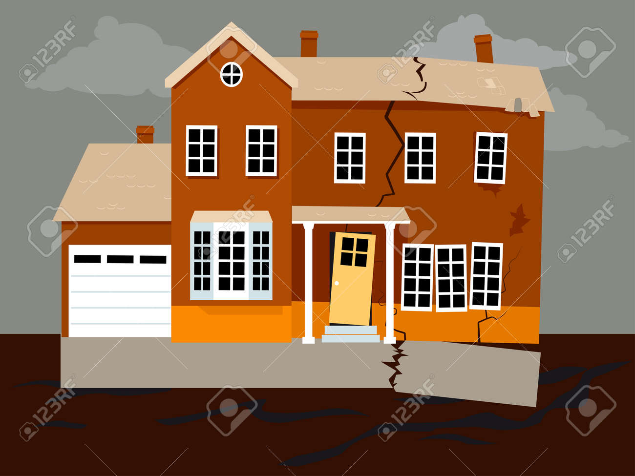 House Falling Apart Because Of A Foundation Failure, EPS 8 Vector  Illustration Stock Vector