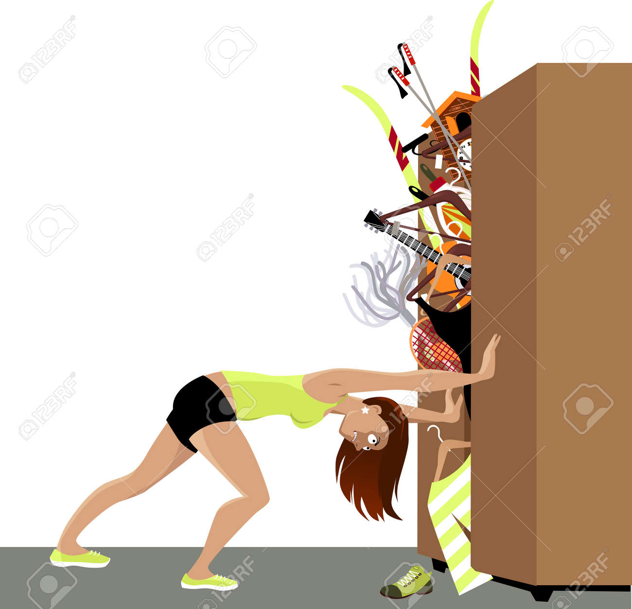 Wardrobe is bursting from stuff, woman trying to hold the doors closed, EPS 8 vector illustration - 76535389