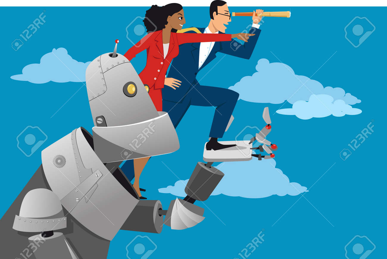 Giant robot holding business people, helping them to look further ahead, EPS 8 vector illustration - 76929575
