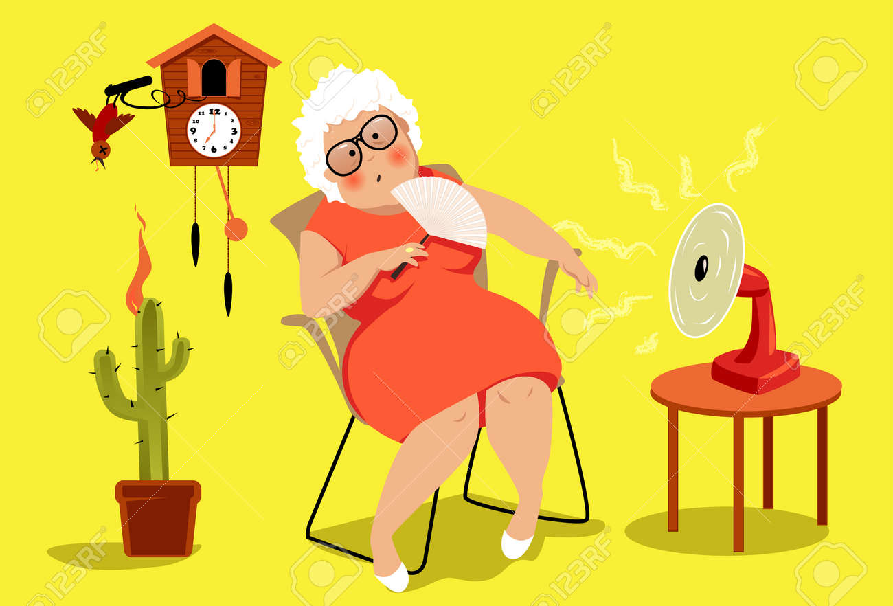 Mature woman sitting in her house in a very hot summer day, suffering a heat exhaustion, EPS 8 vector illustration, no transparencies - 79861269
