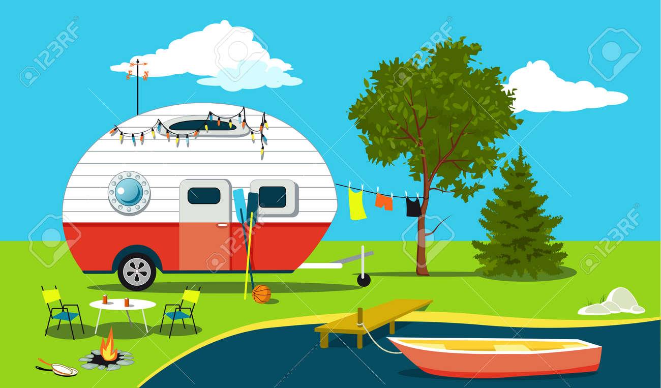 Camping Tafel Retro.Cartoon Visserij Reis Scene Met Een Vintage Camper Een Boot Een Vuurplaats Camping Tafel En Waslijn Eps 8 Vectorillustratie Geen Transparanten