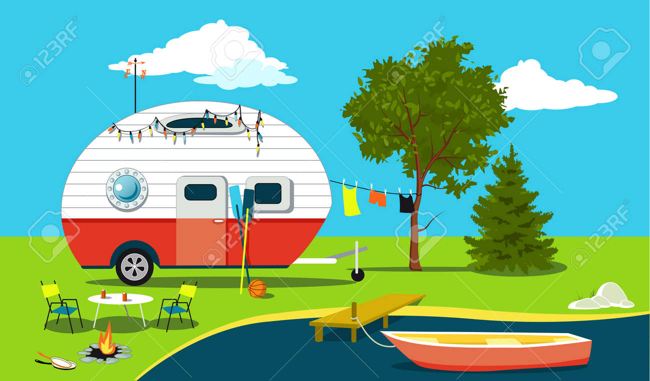 Cartoon fishing trip scene with a vintage camper, a boat, a fire pit, camping table and laundry line, EPS 8 vector illustration, no transparencies - 82044640