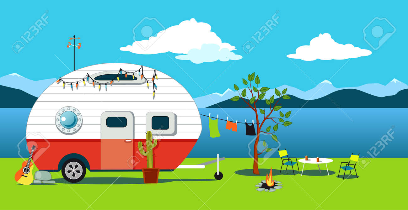 Camping Car Dessin scène itinérante de dessin animé avec un camping-car vintage, un