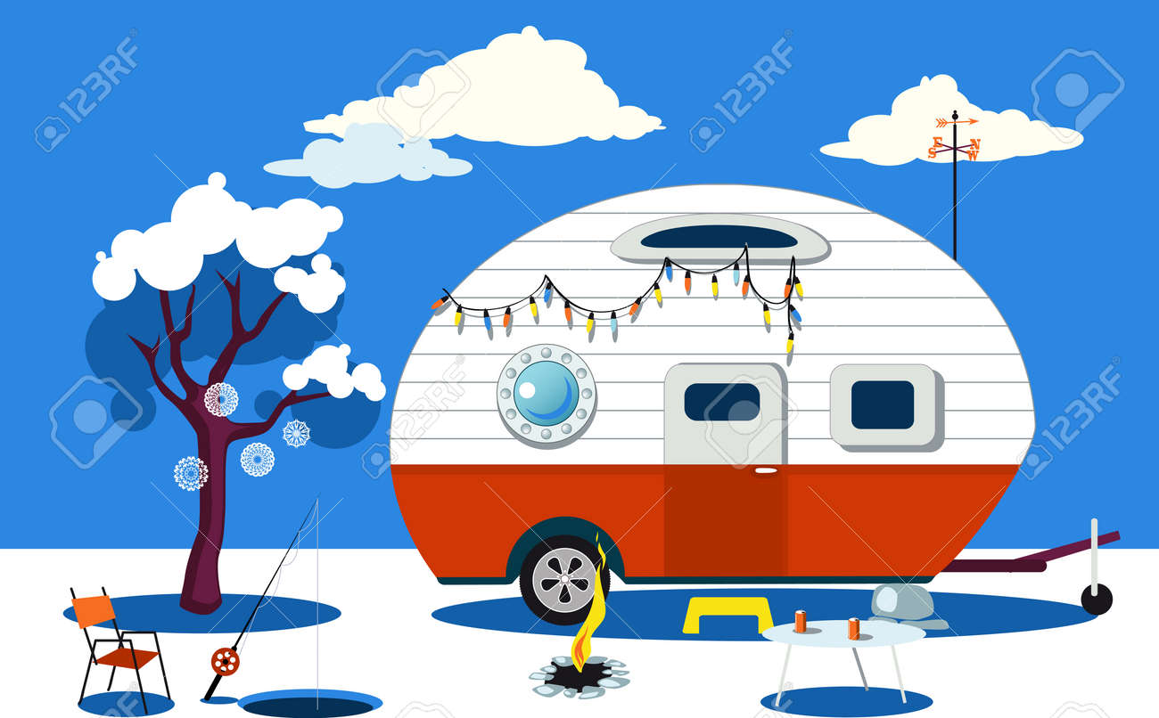 Winter Travelling Scene With A Vintage Camper Fire Pit Fishing Hole And Camping